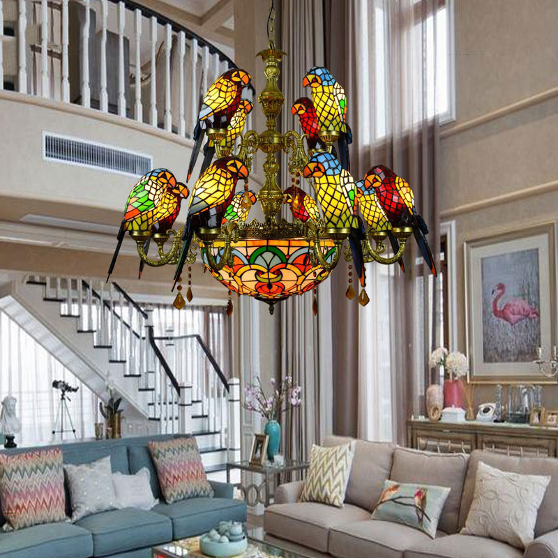 FUMAT-Luxurious-Parrot-Double-deck-Chandeliers-Tiffany-Stained-glass-12-birds-Parrot-Restaurant-Bar-club-Living (4)
