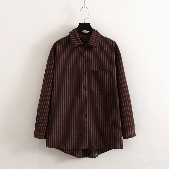2521a892d54 Brown Striped Plus Size Women Shirts 2018 Spring Summer Long Sleeve Casual  Blouses Japanese Blouse Loose Vintage Simple Top