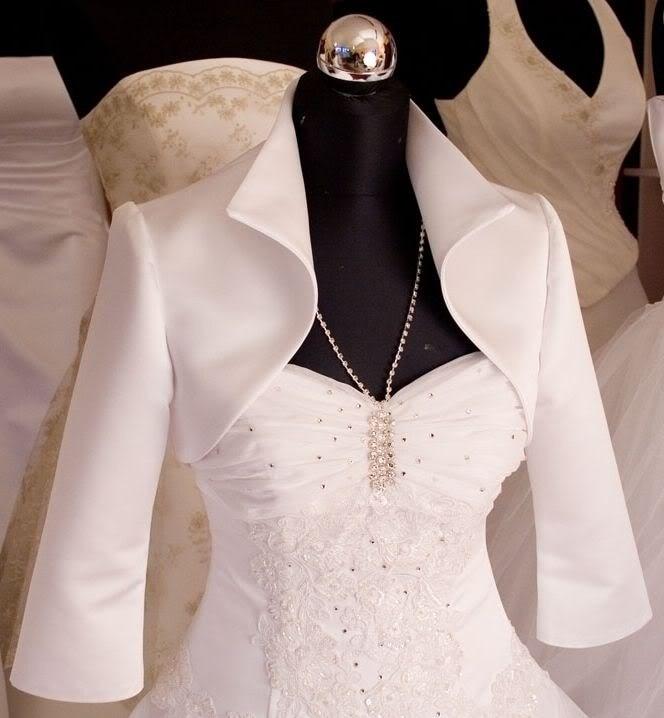 Simple Design Satin White Wedding Jacket Half Sleeves
