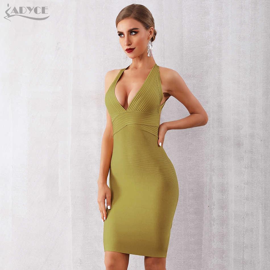 ADYCE, новинка 2019, летнее женское Бандажное платье, сексуальное, с открытой спиной, без рукавов, миди, бодикон, Клубное платье, знаменитостей, платье для вечеринки, vestidos