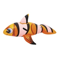 Inflatable Clown Fish With Handles Ride on Pool Float For Kids Water Toys Swim Mattress Fun Beach Game Buoy