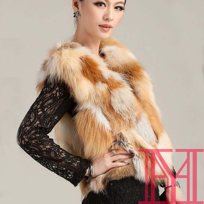 New fashion women real red fox fur vest lovely girls winter casual real fox fur coat