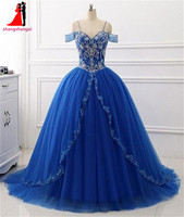 2017 Cheap Long Quinceanera Dresses Off Shoulder Beads Ball Gown Plus Size Prom Party Dress Vestidos