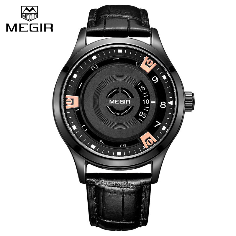 online get cheap engravable mens watches aliexpress com alibaba megir 2017 new men watch top brand luxury genuine leather engraved dial military watches clock male