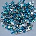 Blue Zircon AB ss3,ss4,ss5,ss6,ss8,ss10,ss12,ss16,ss20,ss30 Flat Back Crystal Non Hotfix Nail Art Glue On Rhinestones
