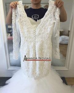 Image 2 - Новый дизайн красивое свадебное платье с бисером и юбкой годе с рукавами 2017