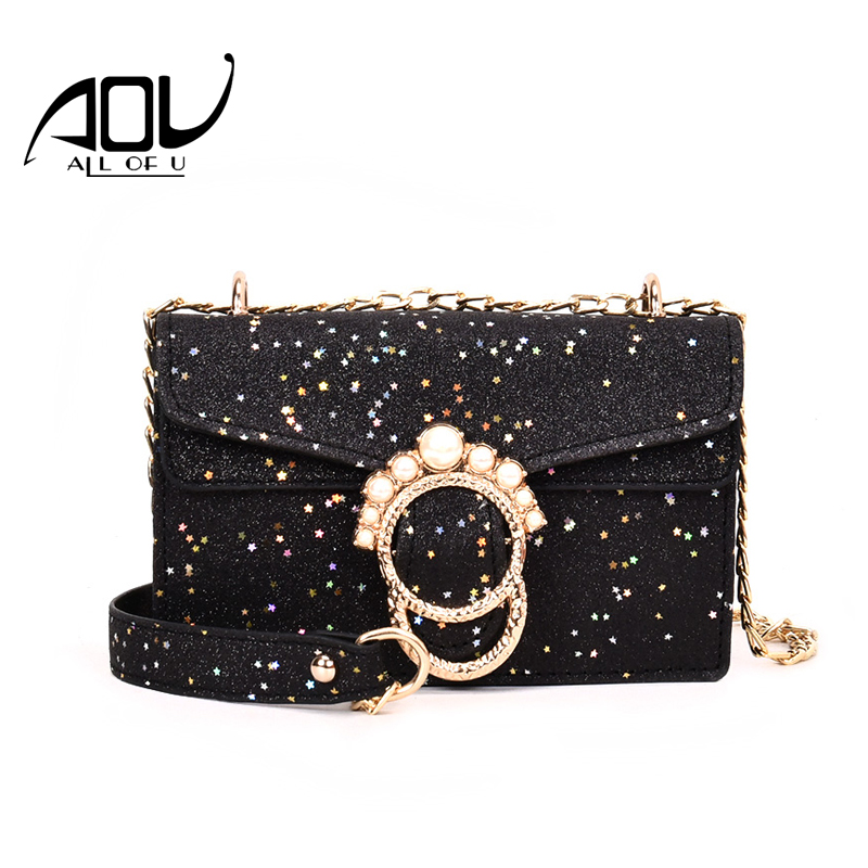 Women Messenger Bags Pearl Pu Leather Shoulder Chains Crossbody