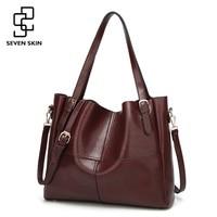 SEVEN SKIN Brand Solid Leather Shoulder Bags Luxury Handbags Women Bags Designer Large Capacity Female Tote