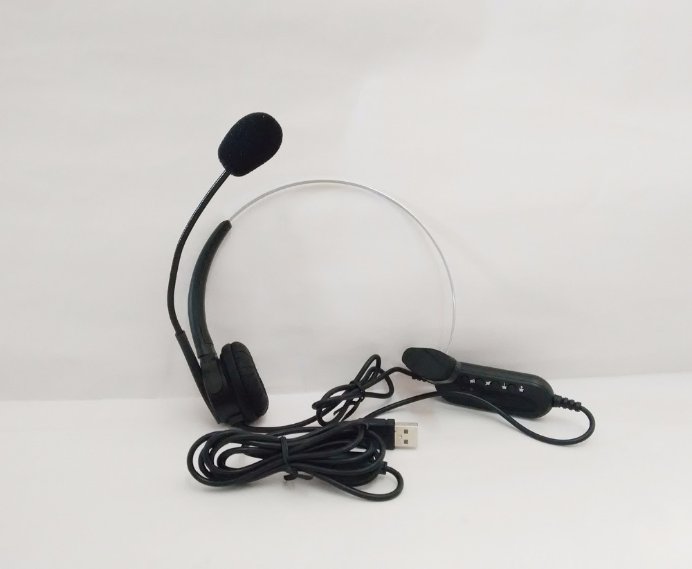USB earphone Headphones with Mic call center computer USB headset customer service headset for PC Laptop Skype Chat Gaming image