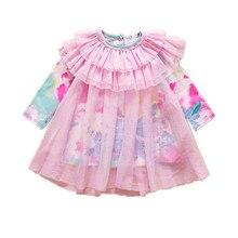 Кружева цветок печать девочки платье розовый платье-линии детские платья день рождения девочки одежда размер 9 — 24 м vestido infantil