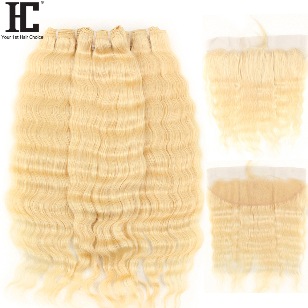 HC Brazilian Deep Wave Blonde Hair 3 Bundles With Frontal 613 Remy Human Hair Weave Bundles With 13x4 Lace Frontal Closure 4 Pcs
