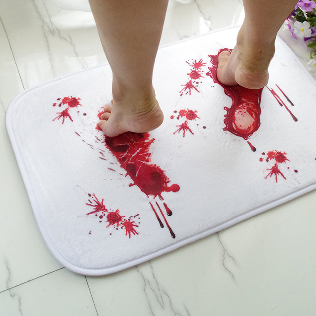 Creative Blood Footprints Bath Mat Horror Rug Toilet Carpet Suede Non Slip Absorbent Shower Bathroom Mat Rugs Floor Kitchen Mat