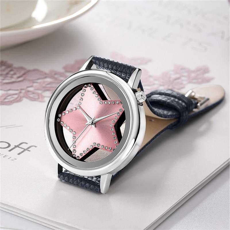 Luxury Brand Quartz Watch Women Creative Hollow Star Dial Ladies Watches Designer Rhinestone Dress Wrist watch Rose Gold Pink 30 2