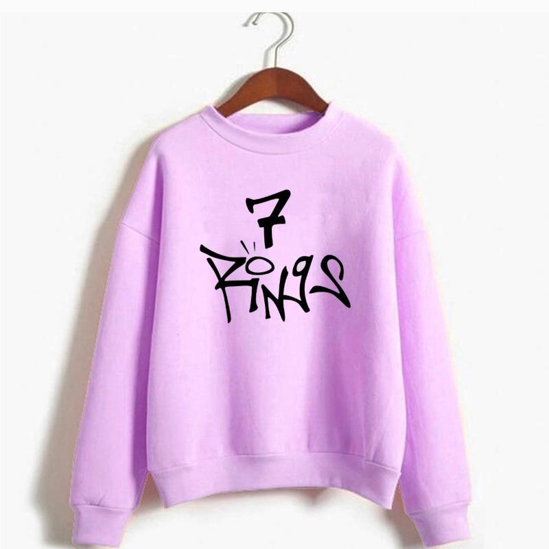 Ariana Grande 7 Rings Sweatshirt Women Seven Rings Thank U Next Hoodie Pullover Tops No Tears