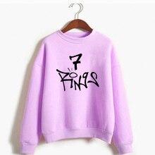 Ариана Гранде 7 Кольца Толстовка для женщин семь кольца спасибо следующий пуловер с капюшоном топы корректирующие без слез слева плакать Бог