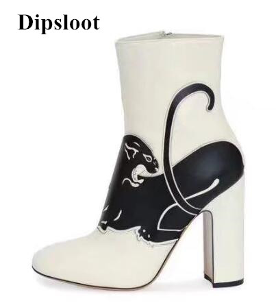 Dipsloot Fashion Chunky Heels Dress Shoes Woman Round Toe Side Zipper Ankle Boots Fashion Patchwork Animals Print Short Boots woman shinning patent leather ankle boots fashion square toe shoes woman chunky heels dress party shoes woman zipper short boots