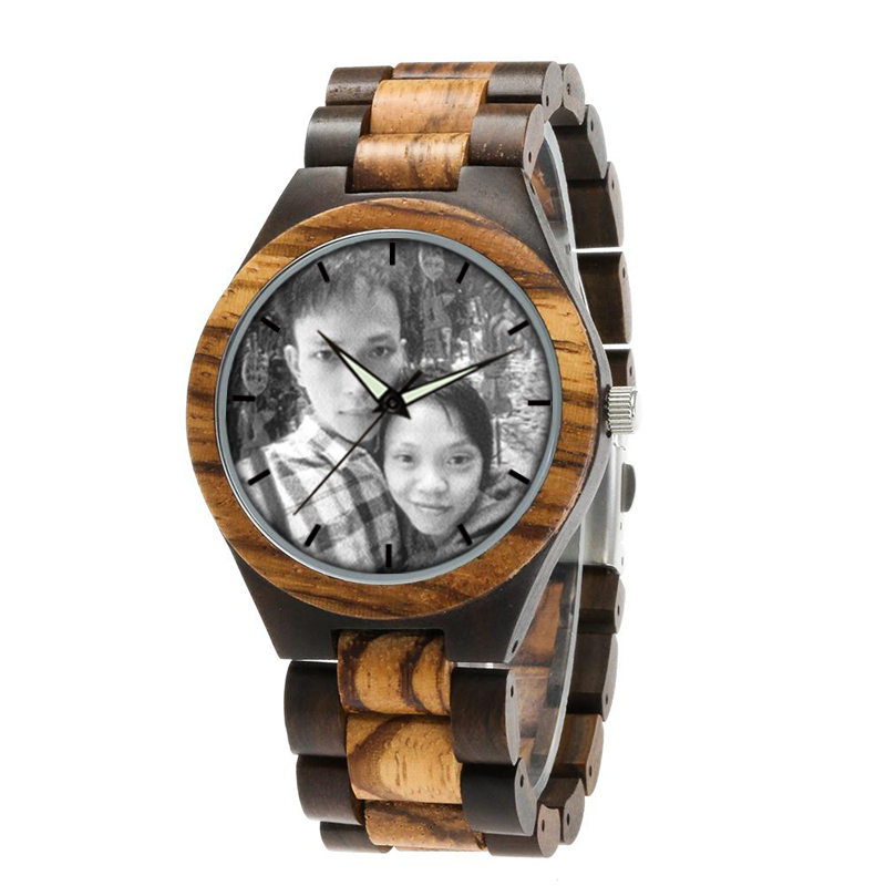 zebra wooden band watch male clock