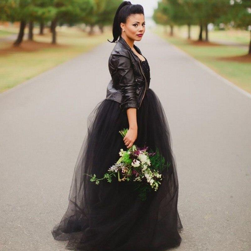 5e43b4a15b Gothic tulle negro Falda larga para nupcial formal Faldas para las mujeres  al partido tulle suave elástico o cremallera estilo nuevo moda