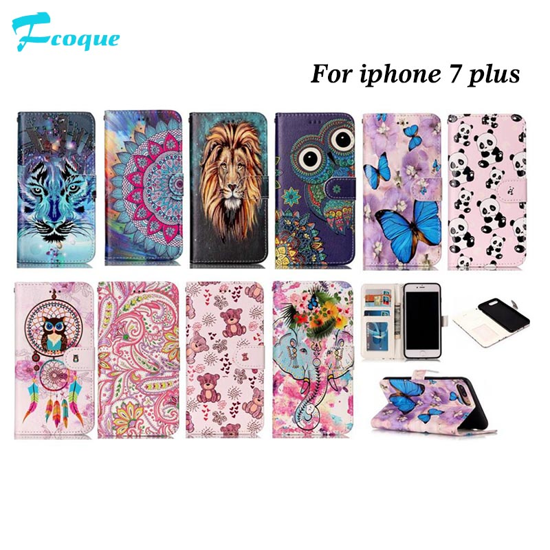 for iPhone 7 Plus Case New Relief Colorful Painting Leather Flip Cover for iPhone7Plus Coque Full Protective CASE