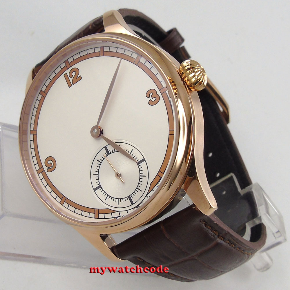 44mm Corgeut white sterile dial rose golden case 6498 hand winding mens watch 38 все цены