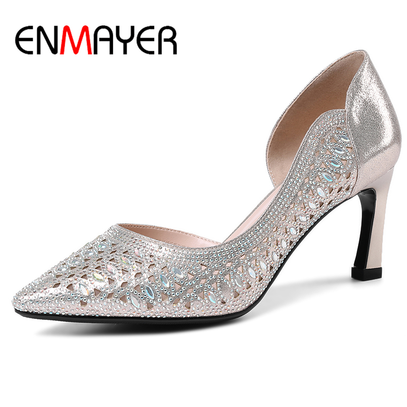 ENMAYER Woman Pumps Heels Wedding Party Summer Sexy Shoes Mature Ladies Crystal Slip-on Pointed Toe Thin Heels Plus Size 34-40 кровельный саморез kenner 4 8х35 ral5005 насыщенный синий 250шт ск355005ф
