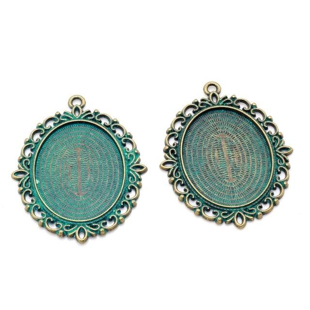 fervent 61x47mm antique bronze diy alliage bijoux accessoires retro temps gem fond soutien dynamitage ronde en