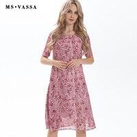 MS VASSA Kadınlar Elbise 2017 yeni Yaz Bahar kısa kollu O-Boyun vintage pembe baskı diz boyu artı boyutu 6XL gevşek gündelik elbise