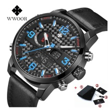 цена на New 2019 WWOOR Waterproof Led Digital Watch Top Luxury Brand Men Leather Sports Men's Quartz Clock Military Wrist Watch Clock