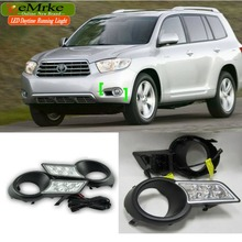 eeMrke High Power LED DRL For Toyota Highlander Kluger 2007-2013 White DRL Fog Cover Daytime Running Lights Kits
