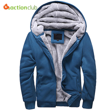 ACTIONCLUB Winter Thicken Zipper Hooded Coat Mens Tracksuit Sweatshirt Solid Color