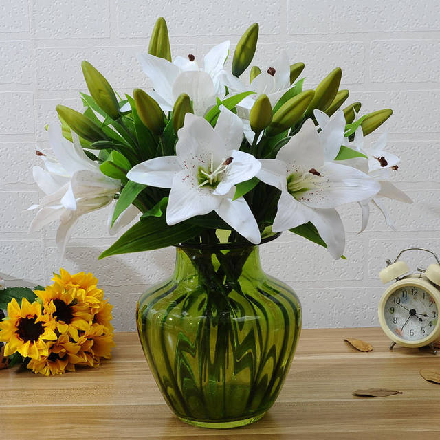 Online Shop Artificial Real Touch Latex Lily Flower Leaf Plant ...