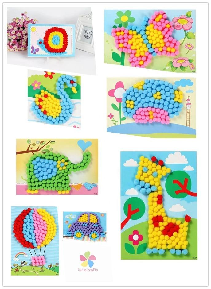 Multi Size Colorful Pompoms DIY Dolls Garment Handmade Material Soft Fluffy Pom Poms Ball For DIY Kids Toys Accessories J0602