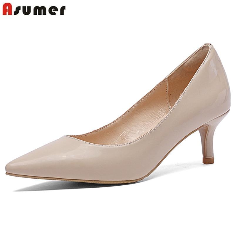 ASUMER كبير حجم 34 45 الأزياء مضخات النساء الأحذية وأشار اصبع القدم الضحلة الكعب العالي حقيقية أحذية من الجلد أنيقة أحذية الزفاف-في أحذية نسائية من أحذية على  مجموعة 1
