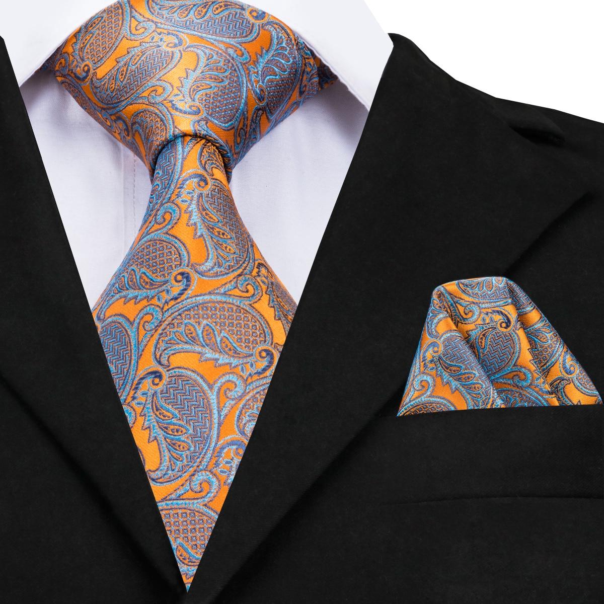 Hi-Tie Yellow Paisley Silk Ties For Men Hand Woven Grey Floral 9cm Wide Large Tie Hanky Set 160cm Long Big Men's Necktie CZ-11