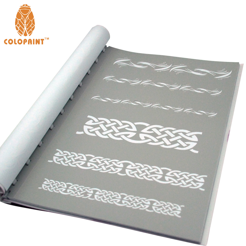 все цены на Colopaint Temporary Airbrush Tattoo Stencil Book Airbrush stencils Template Booklet Professional Airbrushing Work онлайн