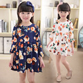 New 2017 Girls Dress Summer Casual Blue Three Quarter Sleeve Baby Girls 2-10 Year Dress Summer Girls Dress Print Girls Clothes