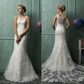 Vestidos De Novia Casamento Boat Neck Lace Mermaid Wedding Dresses Sweep Train Bridal Gowns
