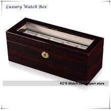 Высокого класса двухслойные высокое Grossy отделка деревянные часы чехол для RLX прозрачной крышкой для отображения коробка GC02-LG1-05EX