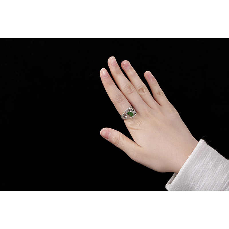 เงินแท้ 925 ผีเสื้อแหวนหินหยกธรรมชาติ Hollow Design เปิดแหวน
