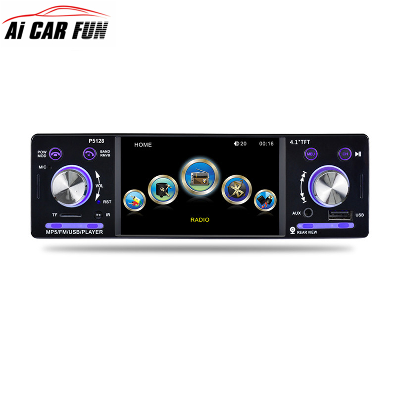 цена на 4.1 Car Stereo P5128 Car Radio Autoradio 12V Bluetooth 1 Din FM Aux Input Receiver In-dash SD USB MP3 WMA APP Car Radio Player