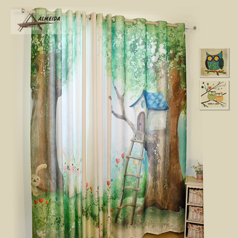 Custom made cartoon shading curtain eco friendly digital - Childrens bedroom blackout curtains ...