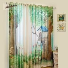 Custom Made Cartoon Shading Curtain Eco friendly Digital Printing Tapeti Blackout Curtain for Kids Bedroom Window