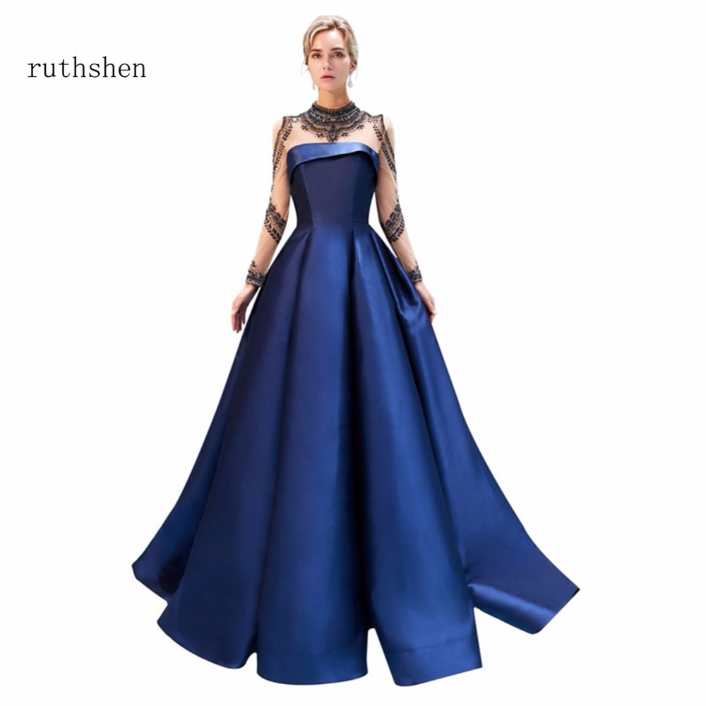 ruthshen Reflective   Dress   In Stock Luxury Long   Prom     Dresses   Beaded Full Sleeves Special Occasions Party   Prom   Gowns Real Photos