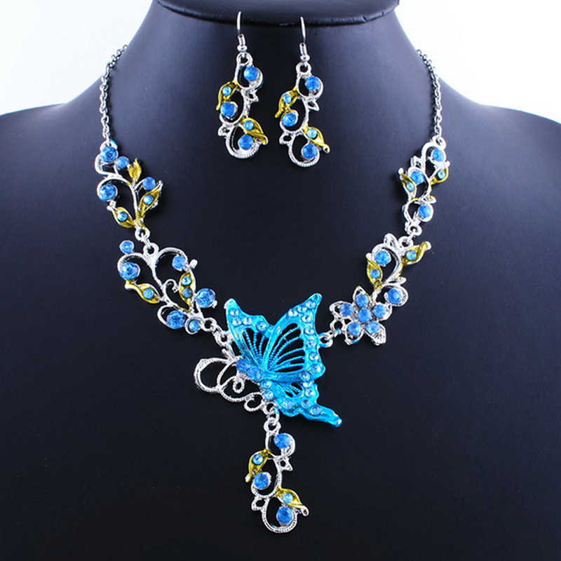 1Set Butterfly Necklace Earring Jewelry Sets For Women 5 Colors Fashion Ring Bride Wedding Gifts Spring Autumn Jewelry New