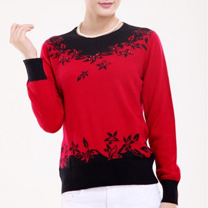 LHZSYY Autumn winter New Female Cashmere Sweater O-collar Inlaid design Sweaters knit Loose Large size short Fashion pullover