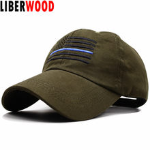 LIBERWOOD American Flag Thin Blue Line Low Profile Tactical Hat Cap For  Police Law Enforcement Blue Embroidered baseball Cap hat 39cc90a4803e