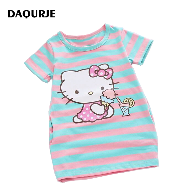 Summer Girls Dress Cartoon design Party Kids Dresses For Girl Clothes Children Vestidos Costume Roupas Infantis Menina summer seaside girls dresses children korean style clothing big girl casual striped costume kids cotton clothes junior vestidos