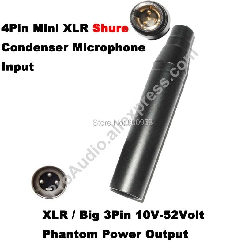 Free Shipping High Quality TA4F 4Pin Mini XLR To 3Pin Male XLR For Shure Condenser Microphone Phantom Power 48V Adapter