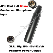 Free Shipping High Quality TA4F 4Pin Mini XLR to 3Pin Male for Shure Condenser Microphone Phantom Power 48V Adapter