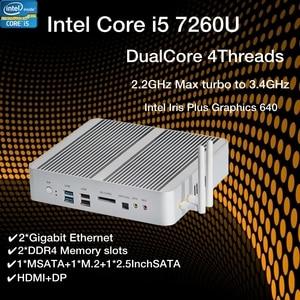 Image 1 - KabyLake Mini PC sin ventilador, Intel Core i5 7260U 3,4 GHz, puerto óptico 2 * lan, Intel Iris Plus Graphics 640 DDR4 ordenador Barebone